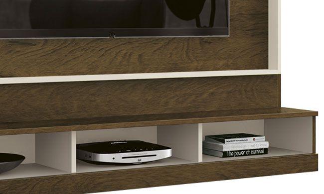 Painel para TV Arena Nogal Rustico com Off White - Edn Móveis