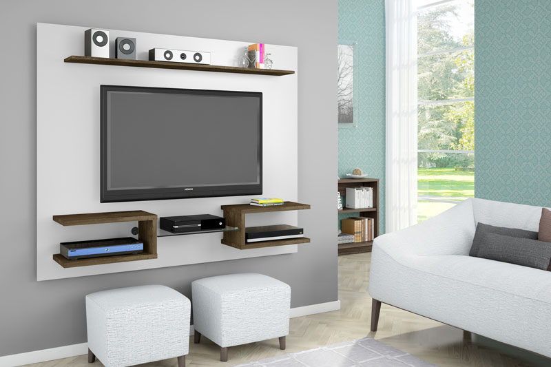 Painel para TV Atlas Branco com Madeira Rústica - Móveis Bechara