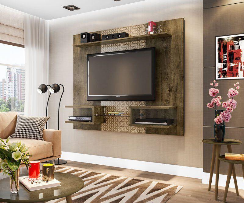 Painel para TV Atlas Madeira Rústica com Madeira 3D - Móveis Bechara