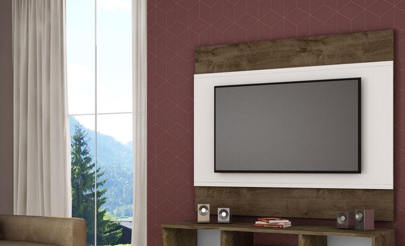 Painel para TV Bali Madeira Rústica com Branco - Móveis Bechara