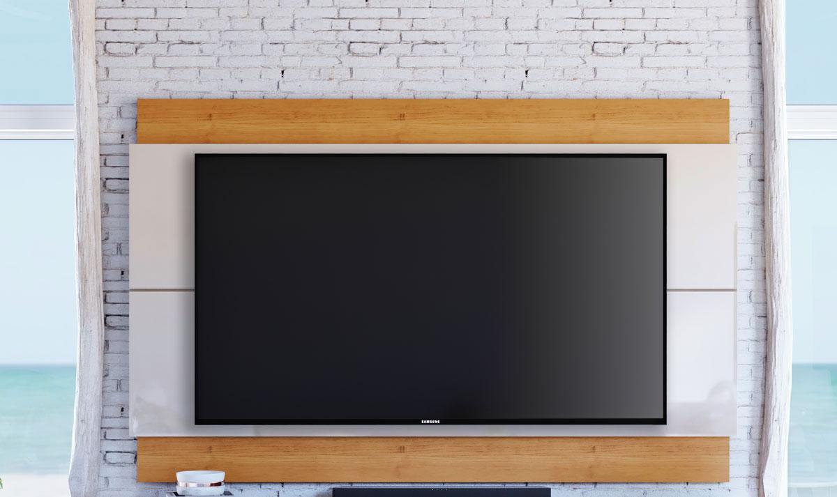 Painel para TV Classic 1.4 Off White com Nature - Imcal Móveis