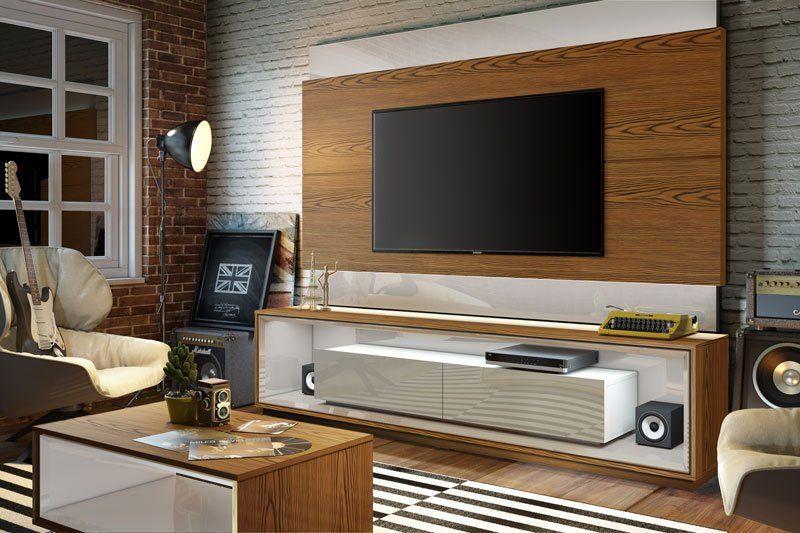 Painel para TV Classic 2.2 Freijó com Off White - Imcal Móveis