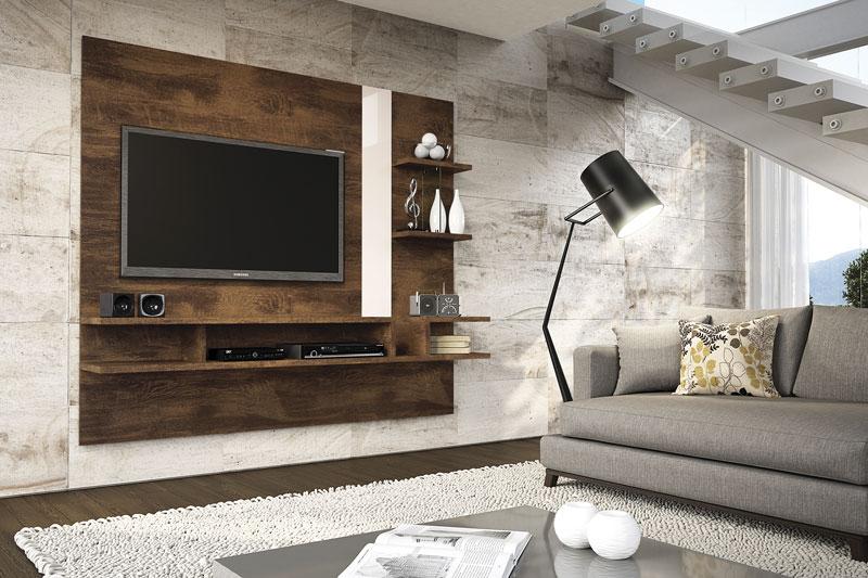 Painel para TV Cross Canela com Off White - Lukaliam Móveis