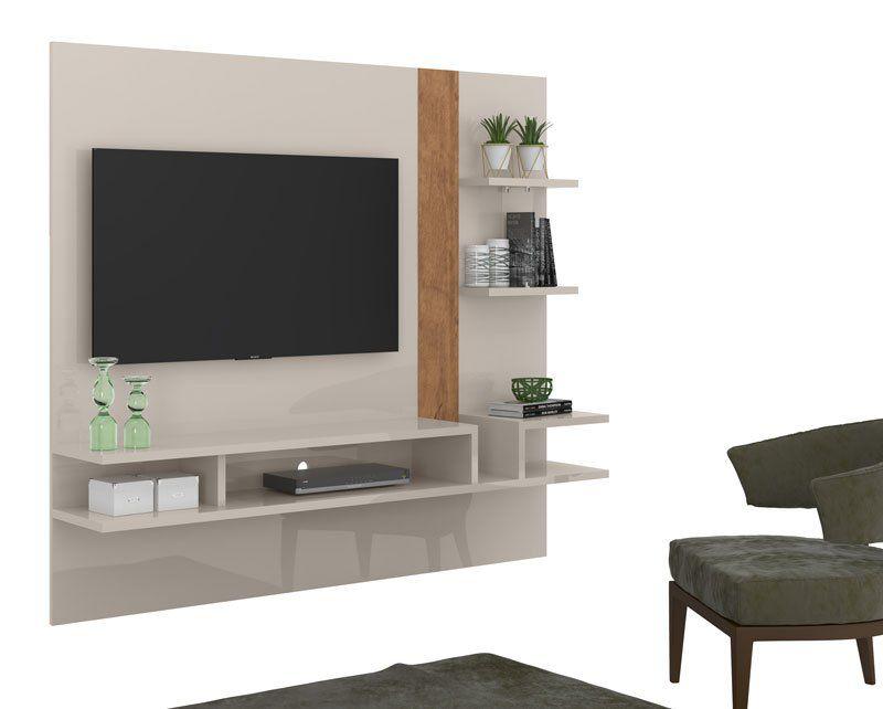 Painel para TV Cross Off White com Amêndoa - Lukaliam Móveis