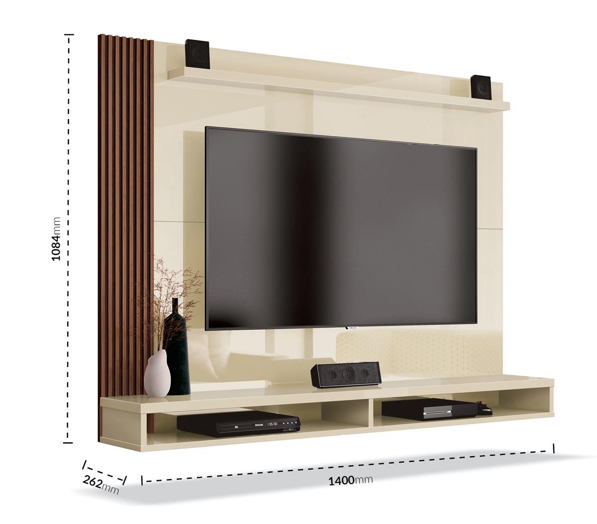 Painel para TV Dijon Off White com Naturale - EDN Móveis