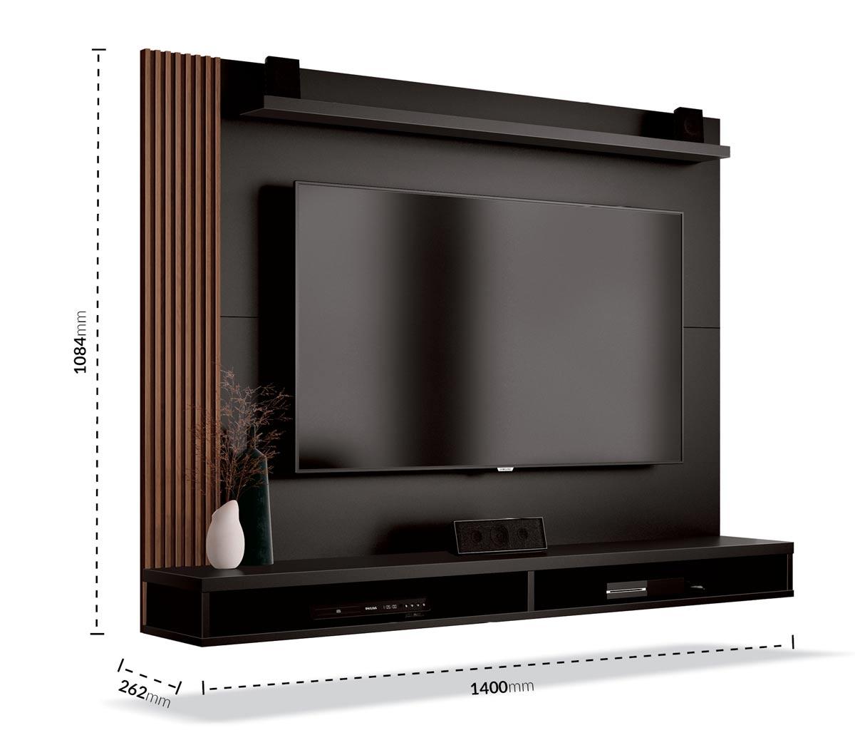 Painel para TV Dijon Preto com Naturale - EDN Móveis