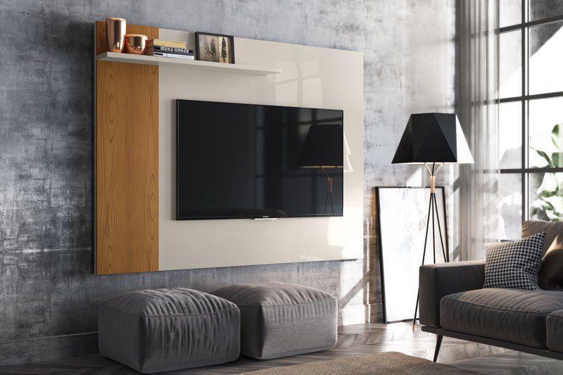 Painel para TV Especiale Off White com Damasco - Lukaliam Móveis