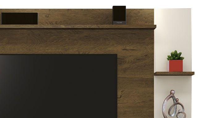 Painel para TV Fluence Nogal Rústico Off White - Edn Móveis