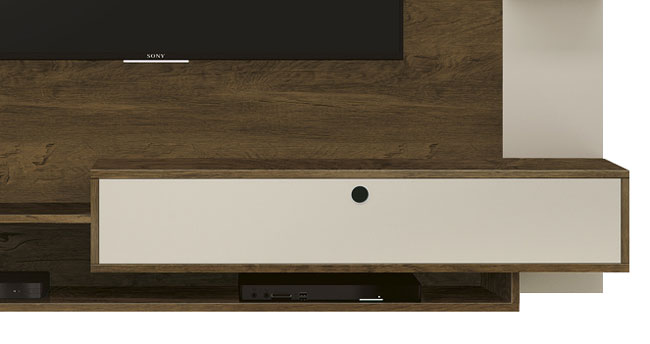 Painel para TV Fluence Nogal Rustico Off White - Edn Moveis