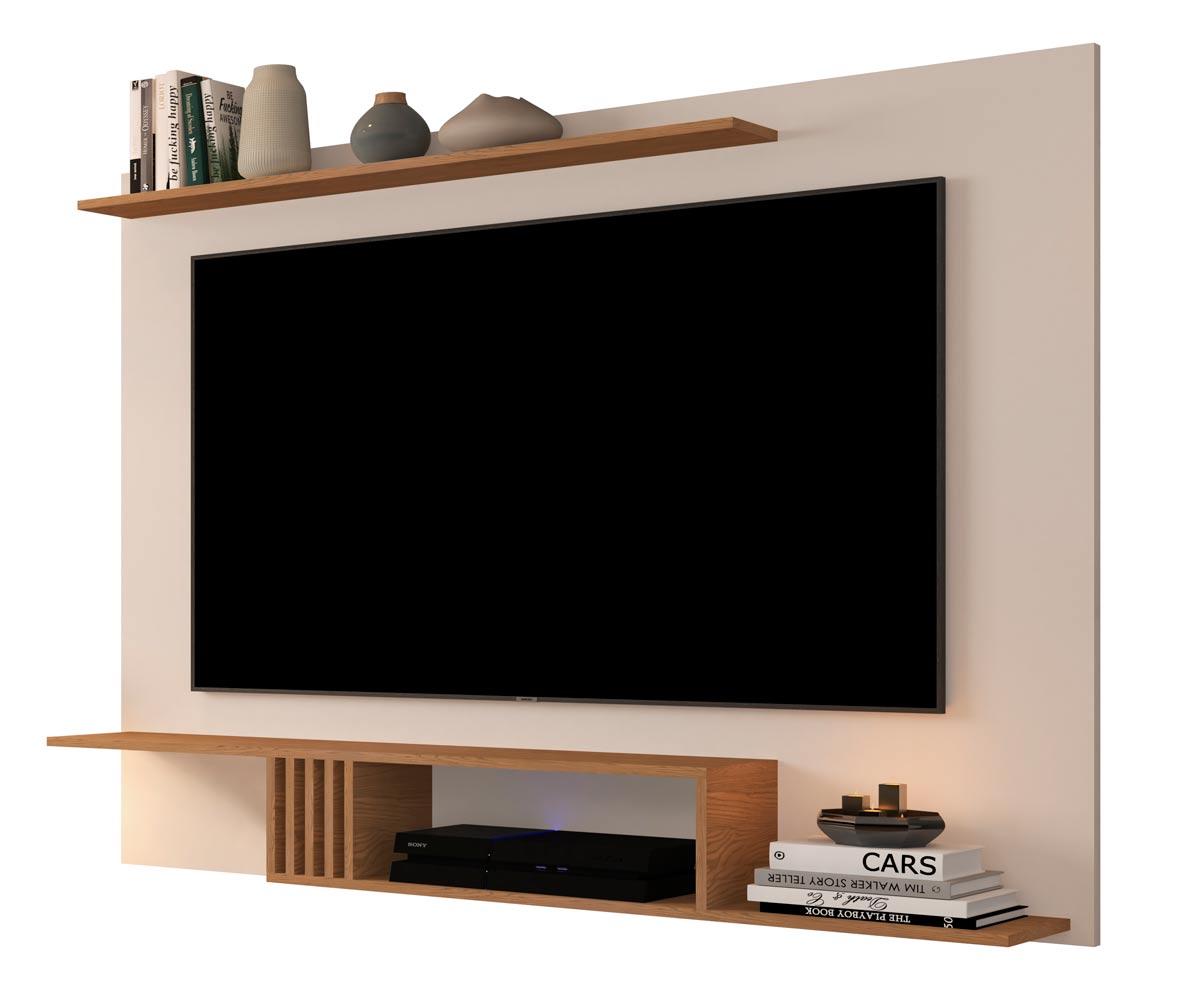 Painel para TV Gravity 1.6 Off White com Freijó - MoveisAqui