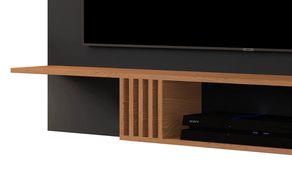 Painel para TV Gravity 1.6 Preto com Freijó - MoveisAqui