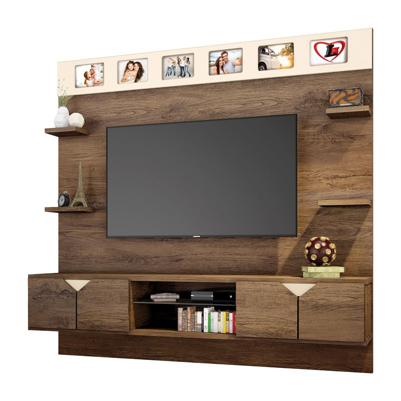 Painel para TV Imperial Avelã com Off White - Lukaliam Moveis