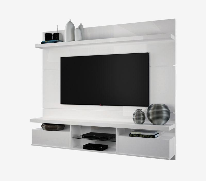 Painel para TV Livin 1.8 Branco Texture Alto Relevo HB Moveis