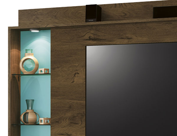 Painel para Tv Lumini Nogal Rustico com Acqua - Edn Moveis