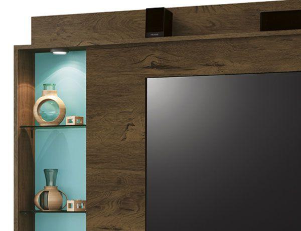 Painel para TV Lumini Nogal com Acqua - Edn Móveis