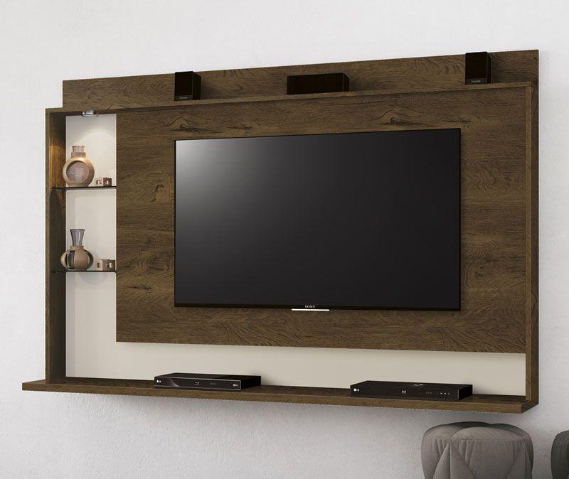 Painel para TV Lumini Nogal com Off White - Edn Móveis