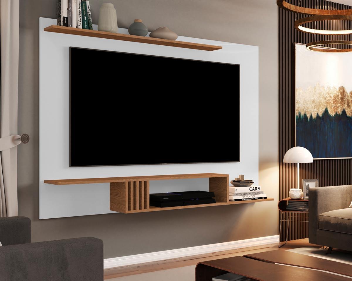 Painel para TV Luxo 1.6 Branco com Freijó - MoveisAqui