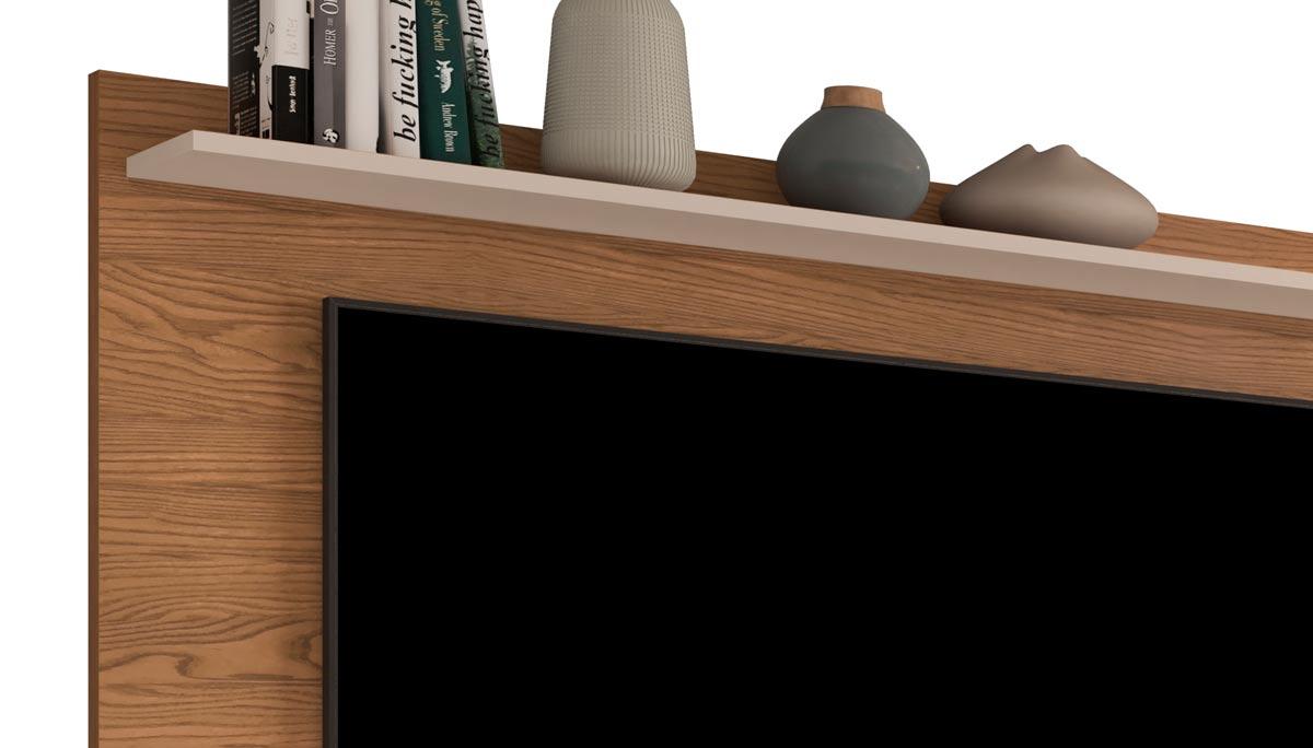 Painel para TV Luxo 1.6 Freijó com Off White - MoveisAqui