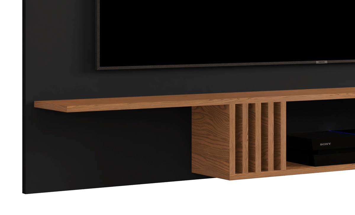 Painel para TV Luxo 1.6 Preto com Freijó - MoveisAqui