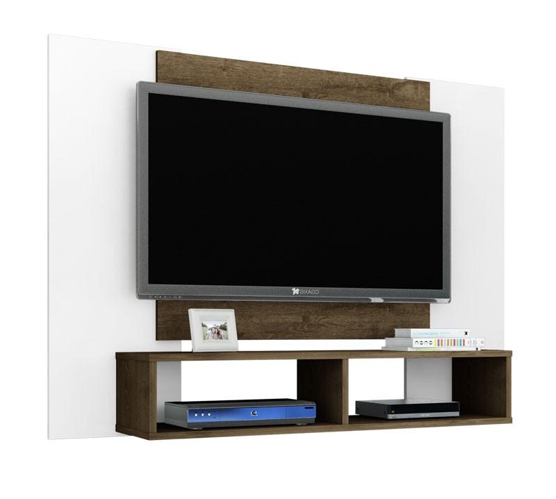 Painel para TV Navi Branco com Madeira Rústica - Móveis Bechara  - MoveisAqui - Loja de móveis online!