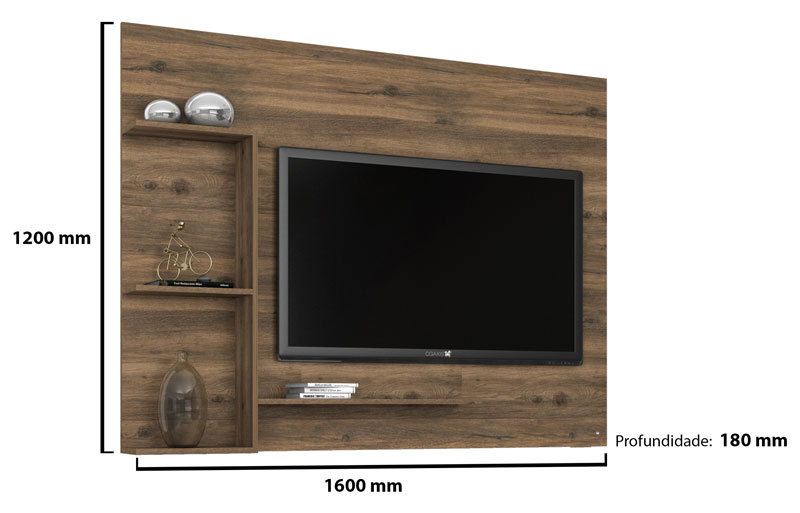 Painel para Tv Prado Canela - Germai Moveis  - MoveisAqui - Loja de móveis online!