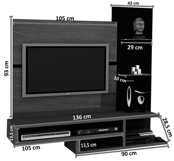 Painel para TV Quarto Vega Malbec - MóveisAqui