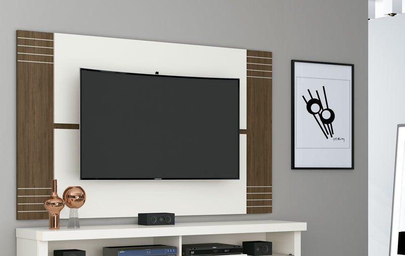 Painel Extensível para TV Recife Off White com Carvalho - Germai Móveis