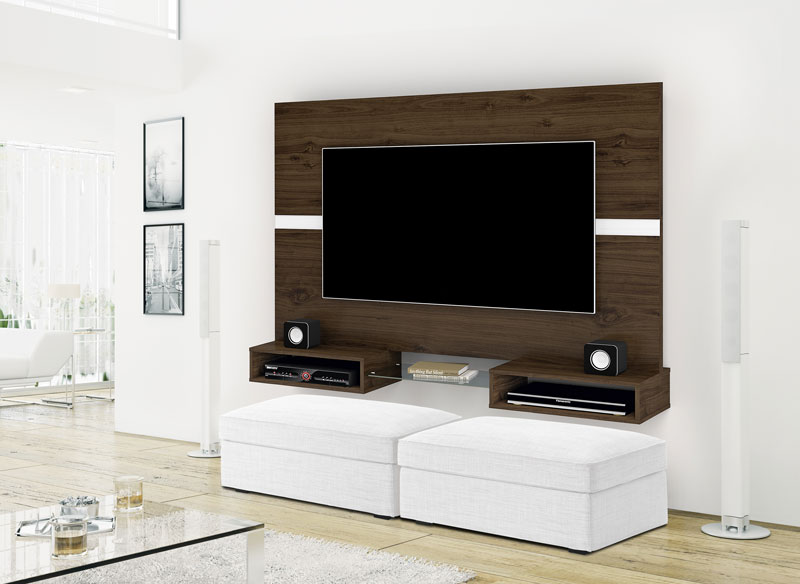 Painel para TV Replay Castanho com Off White - Imcal