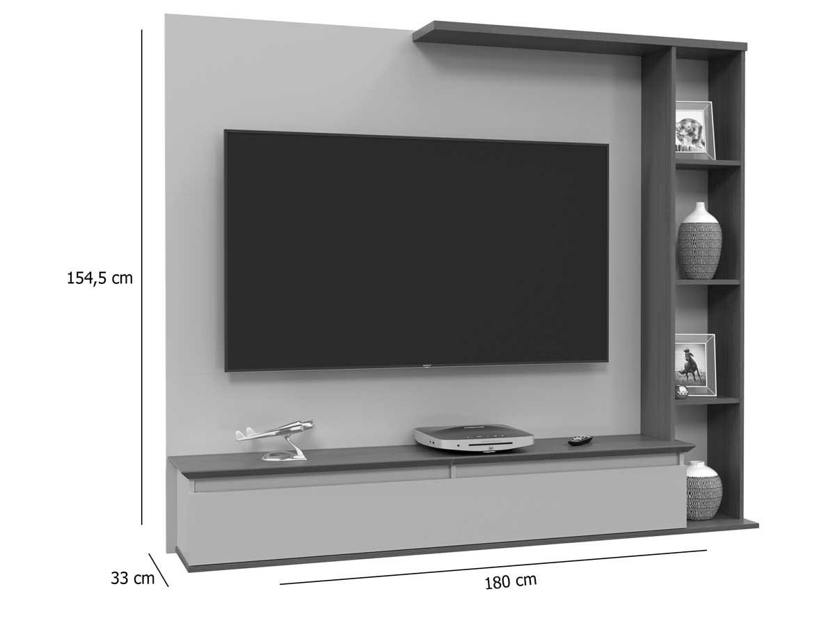 Painel para TV Sublime Canelato com Off White - Patrimar Móveis