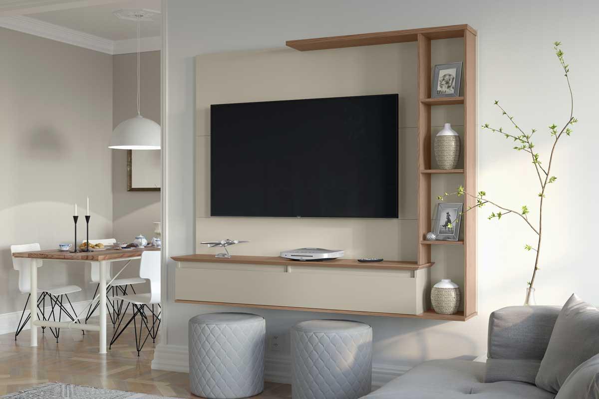 Painel para TV Sublime Off White com Canelato - Patrimar Móveis