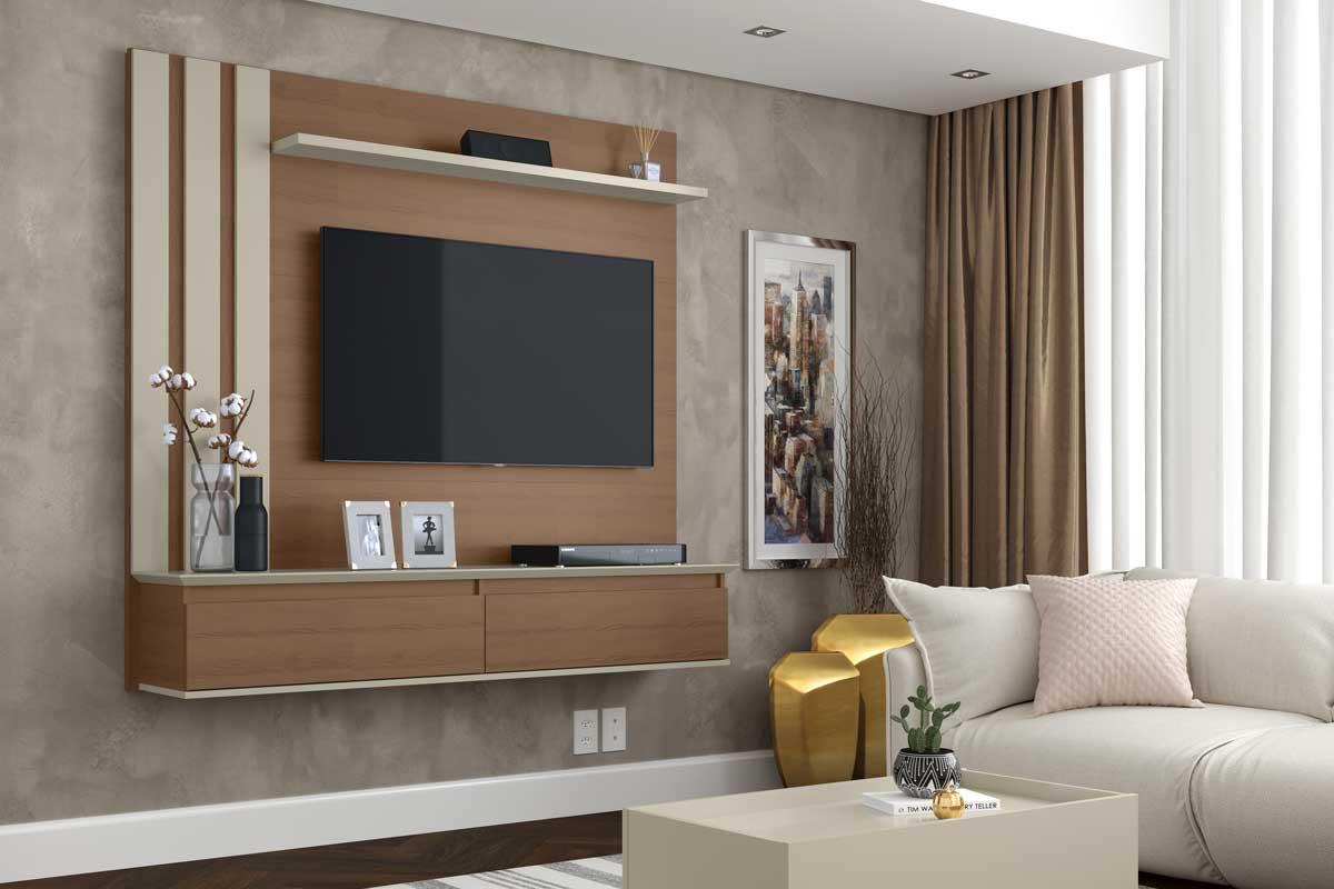 Painel para TV Trend Canelato com Off White - Patrimar Móveis