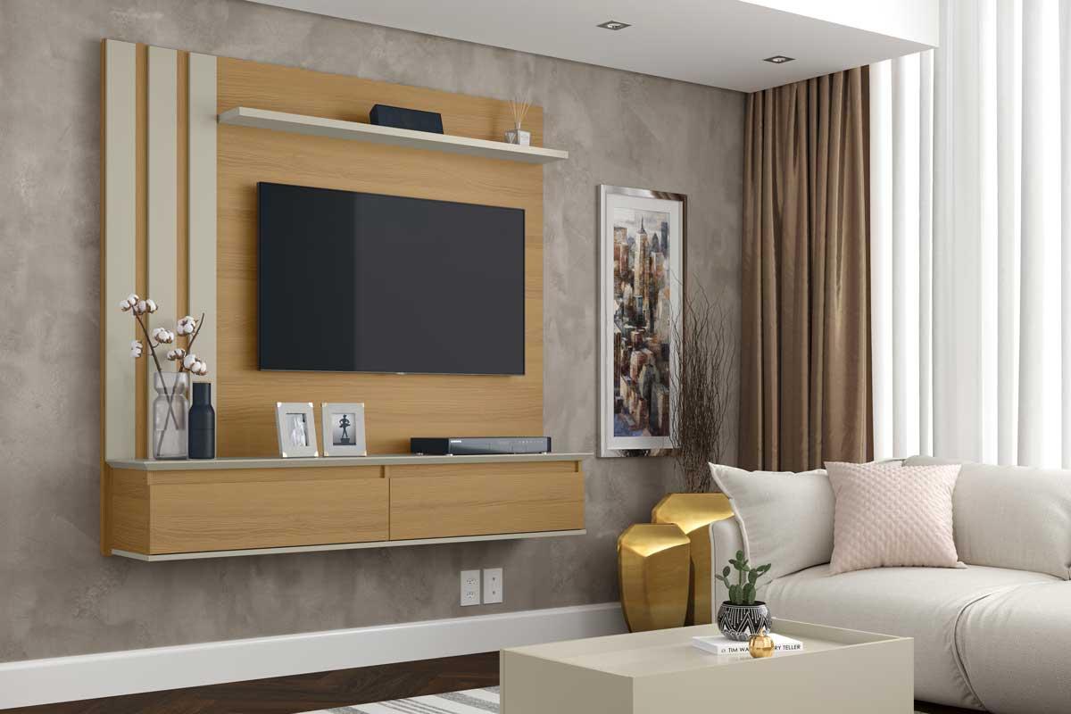 Painel para TV Trend Novare com Off White - Patrimar Móveis