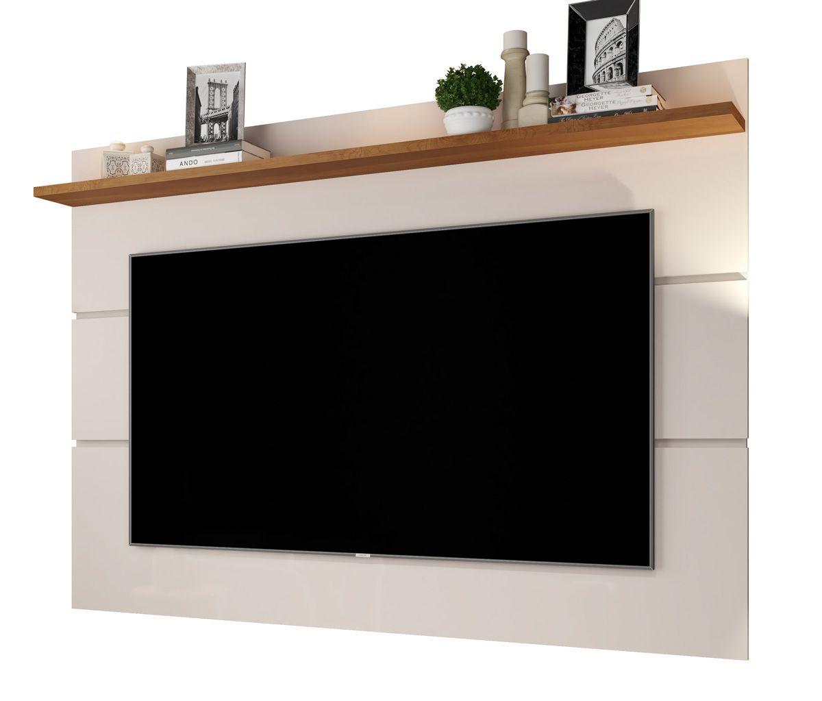 Painel para TV Vivare 1.8 Off White com Freijó - Germai Móveis