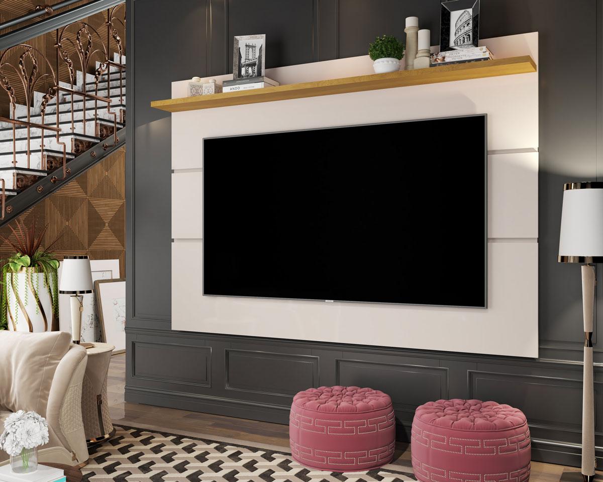Painel para TV Vivare 1.8 Off White com Nature - Germai Móveis