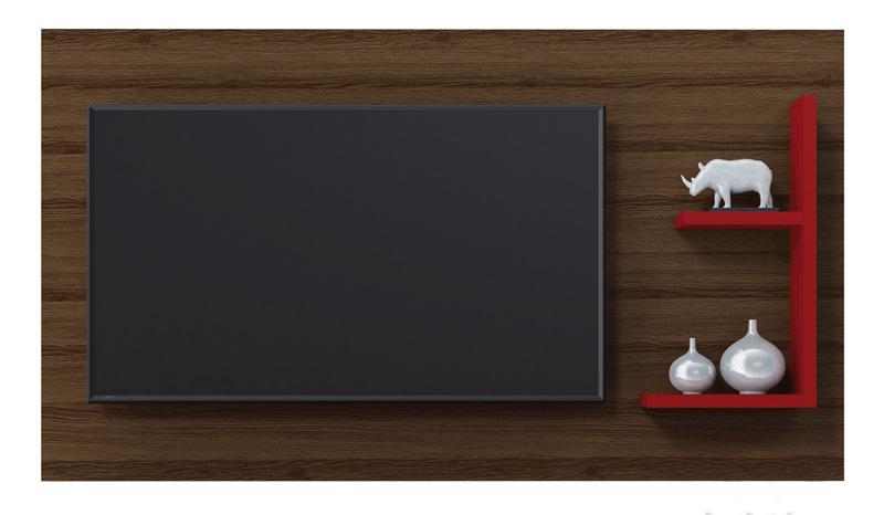 Painel para Tv Universo Amendoa com Vermelho - Patrimar Moveis