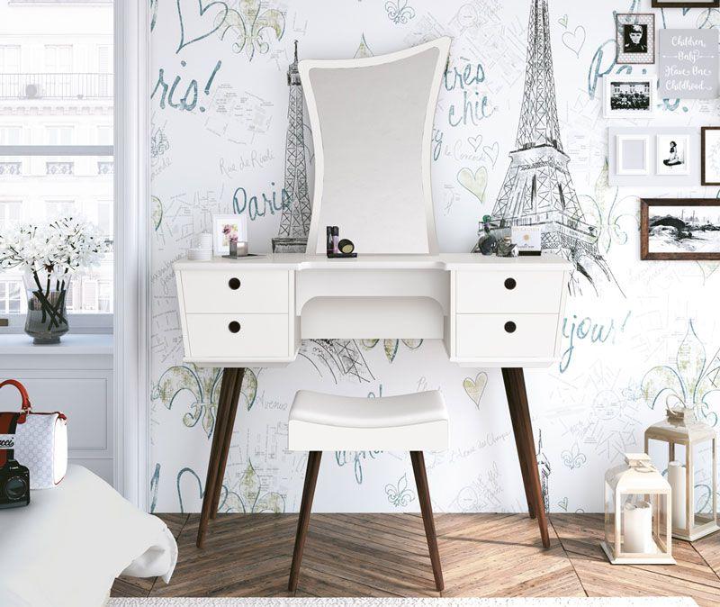 Penteadeira Chanel Branco com Banqueta - Edn Móveis