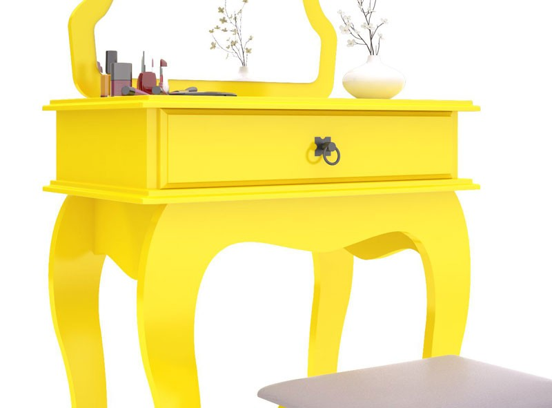 Penteadeira Jb Bechara com Banqueta Amarelo - Jb 7200  - MoveisAqui - Loja de móveis online!