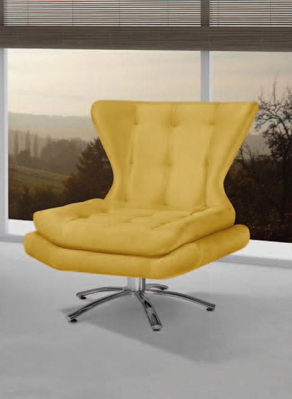 Poltrona Cristal Amarelo PR412 giratorio aluminio - FortBello Estofados