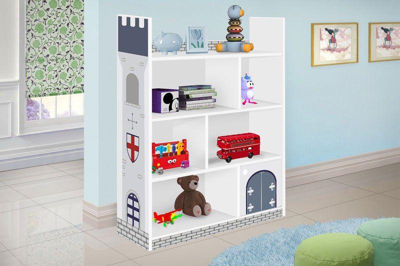 Prateleira Infantil Castelo Branco com Azul - JeA Móveis
