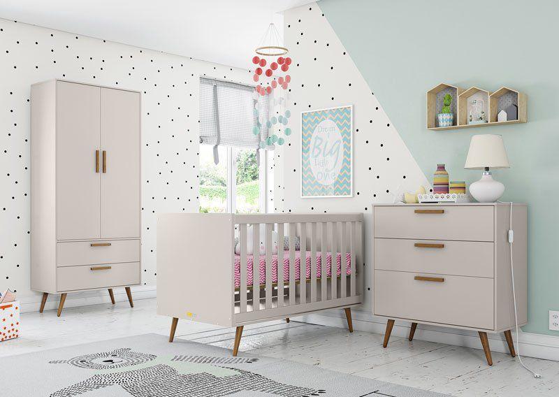 Quarto de Bebê Cinza Retrô Completo 2 Portas - Matic Móveis