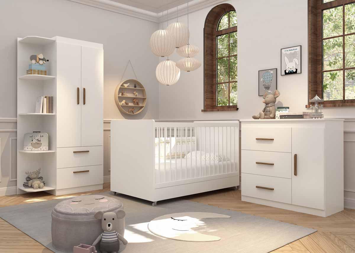 Quarto de Bebê Completo Floc 2 Portas Branco Acetinado - MoveisAqui