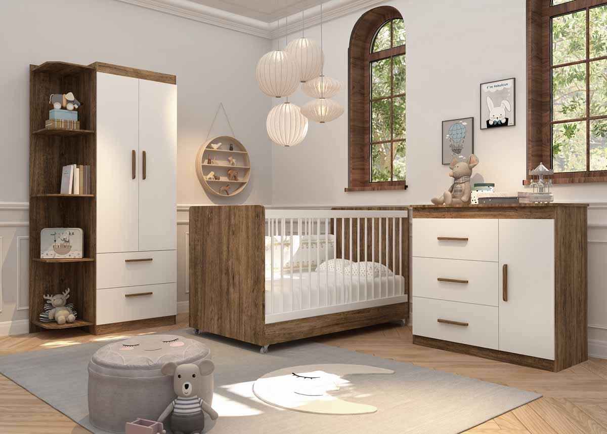 Quarto de Bebê Completo Floc 2 Portas Castanho com Branco Acetinado - MoveisAqui