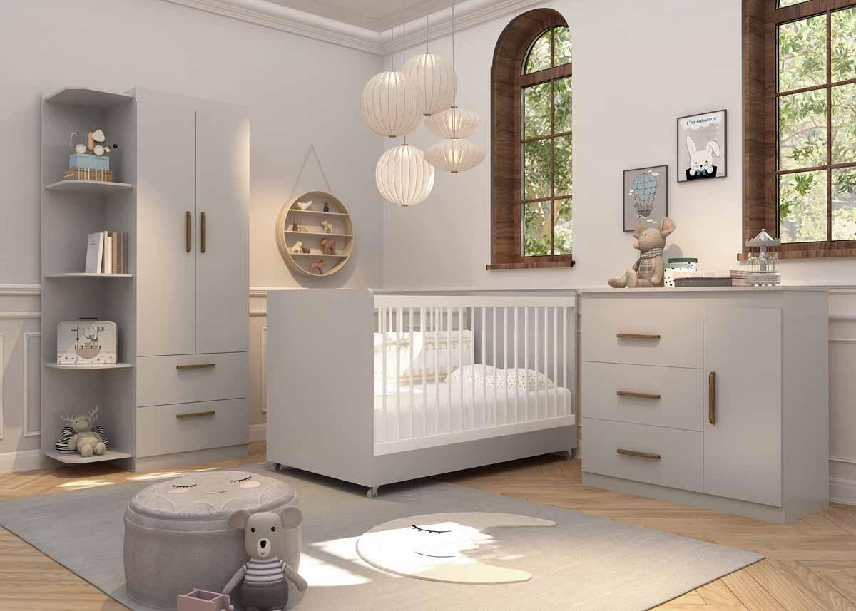Quarto de Bebê Completo Floc 2 Portas Cinza com Branco Acetinado - MoveisAqui