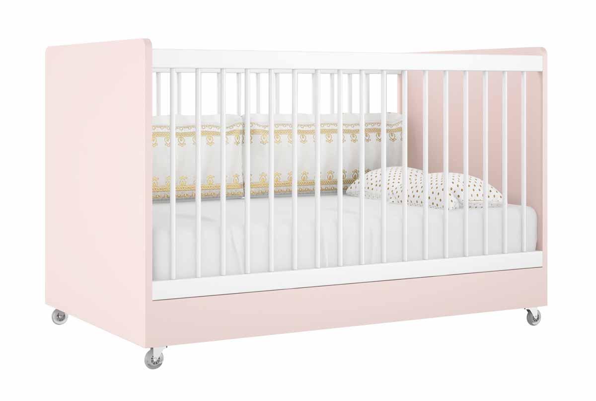 Quarto de Bebê Completo Floc 2 Portas Rosê com Branco Acetinado - MoveisAqui