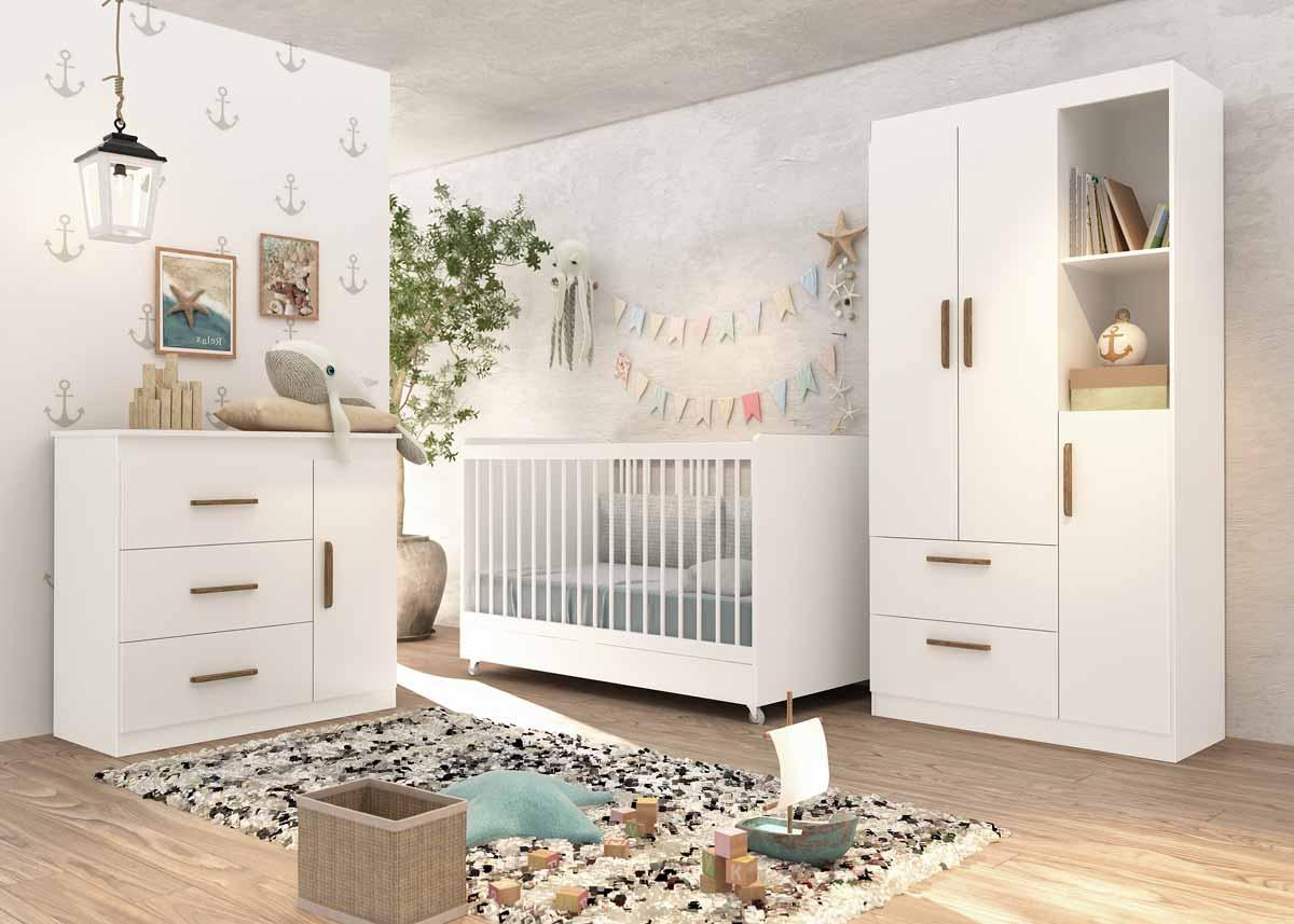 Quarto de Bebê Completo Floc 3 Portas Branco Acetinado - MoveisAqui