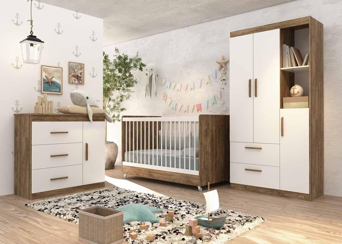 Quarto de Bebê Completo Floc 3 Portas Castanho com Branco Acetinado - MoveisAqui
