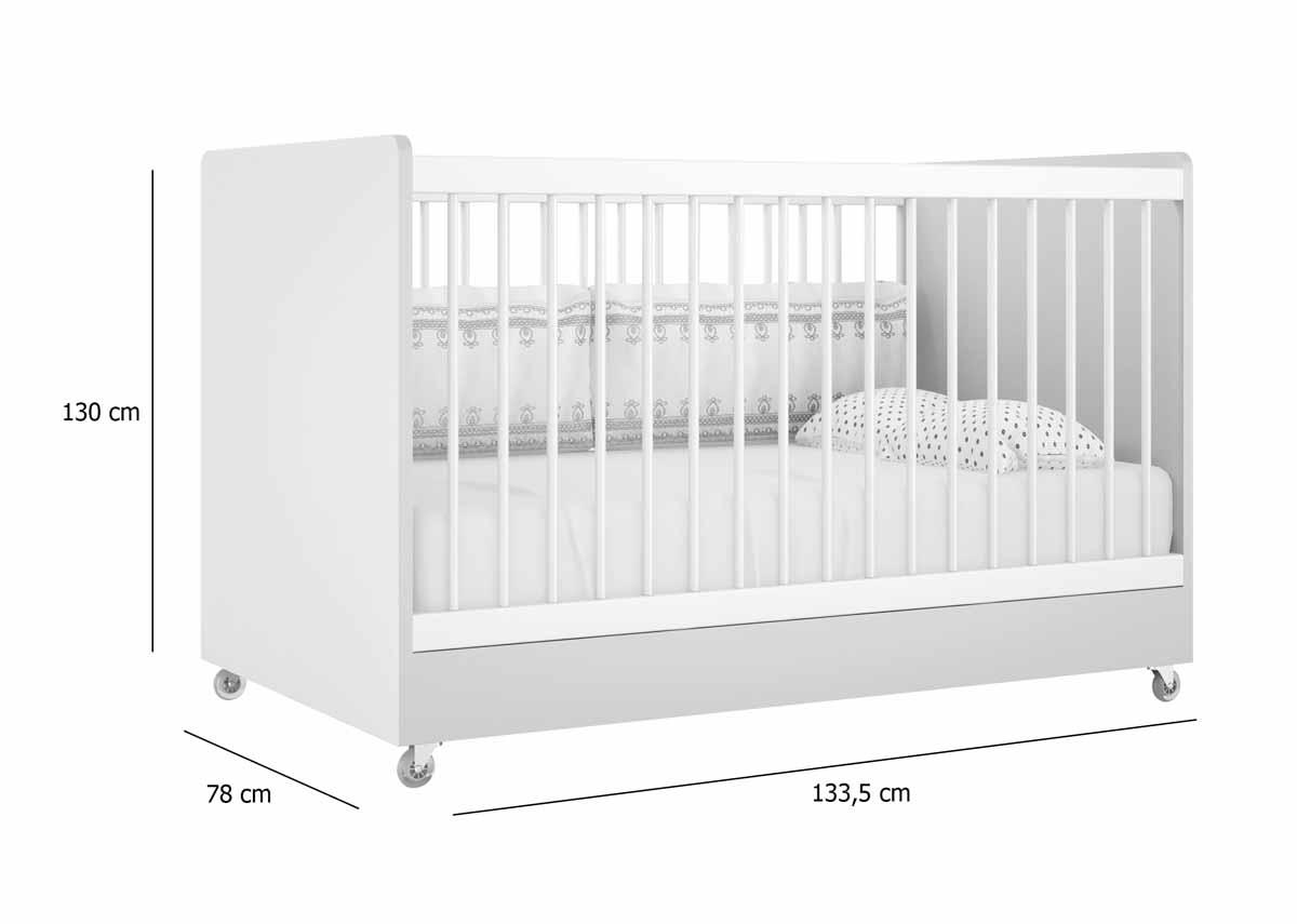 Quarto de Bebê Completo Floc 3 Portas Rosê com Branco Acetinado - MoveisAqui