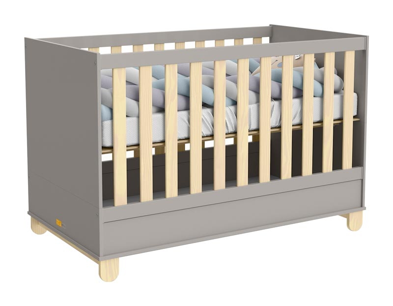 Quarto de Bebê Completo Rope 3 Portas Natural com Cinza - Matic Móveis