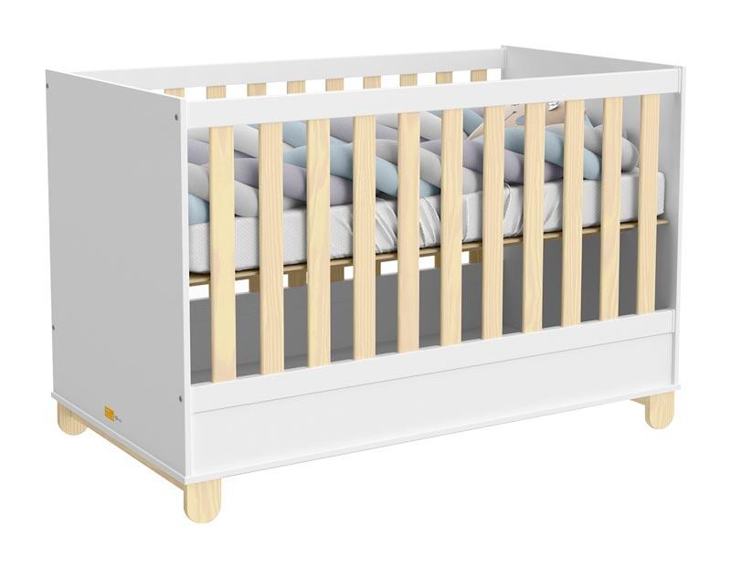 Quarto de Bebê Completo Rope 4 Portas Branco Soft com Natural - Matic Móveis