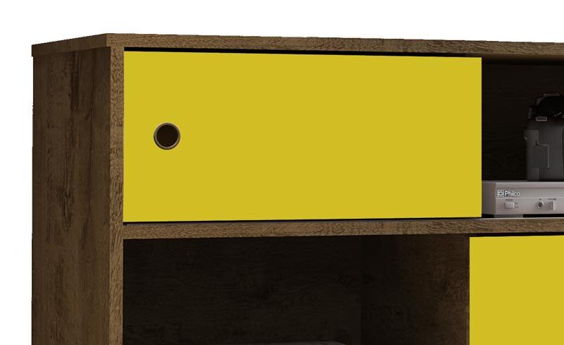 Rack 0.9 Fendi Madeira Rústica com Amarelo - Móveis Bechara